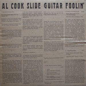 COOK AL slide guitar foolin-signed